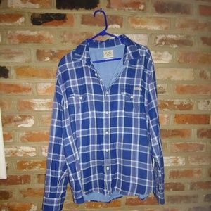 Men's Lucky Brand Blue and White Paid Button Down